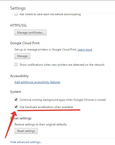 Chrome Hardware acceleration option