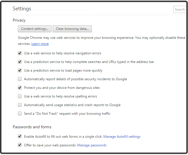 Advanced settings in chrome to protect phishing