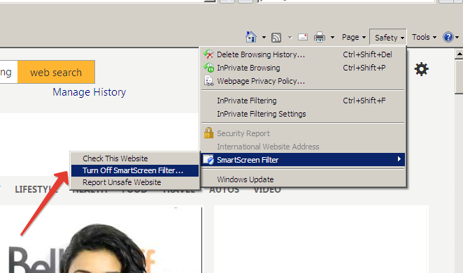 Smart X Filtering in Internet Explorer