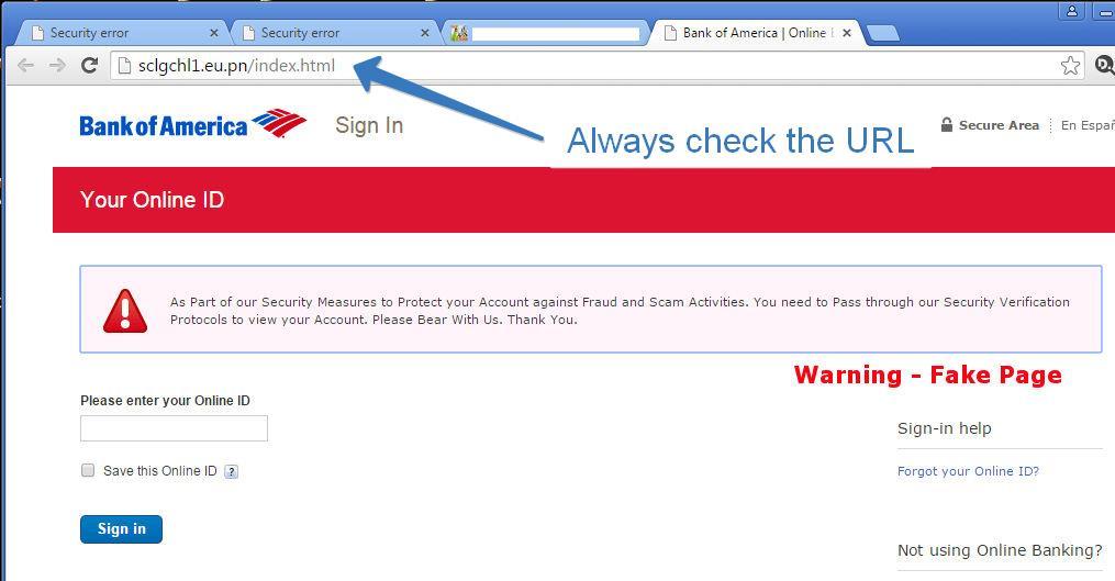 bank phishing page
