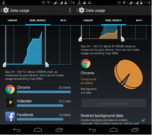 Restrict background data on android