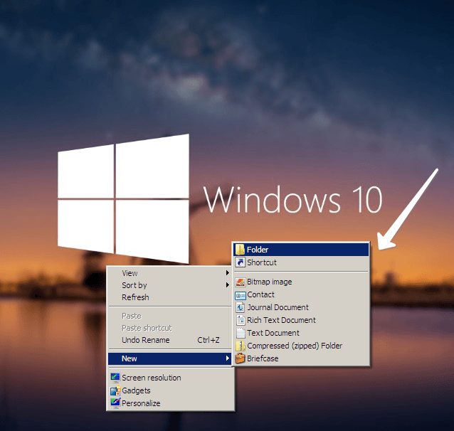 Create Folder in windows 10
