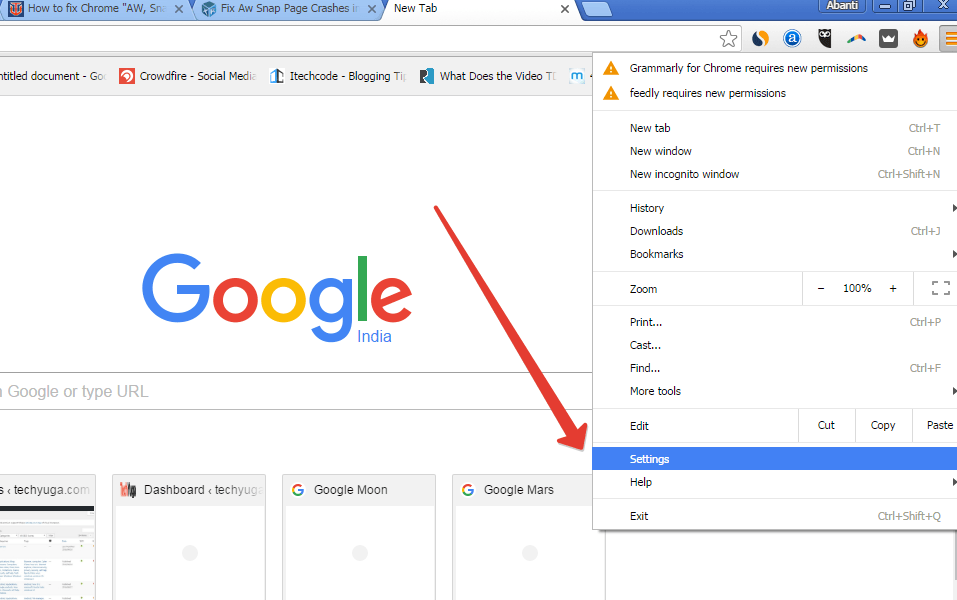 How to fix Aw snap error in chrome,The most common problem in chrome