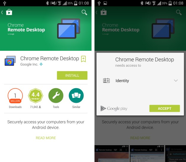 Chrome remote desktop application for android