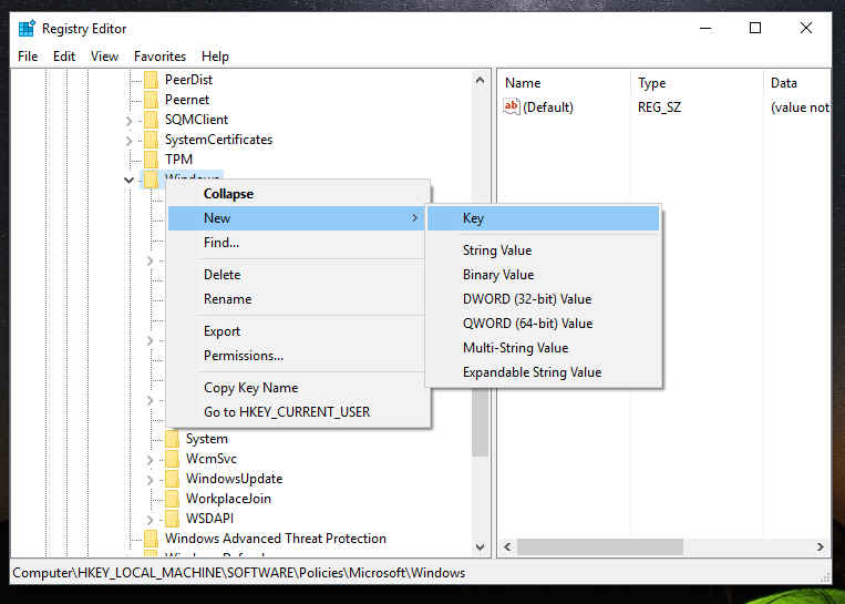 create registry key in windows 10