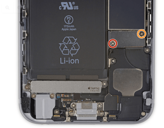 Removing screws from the bracket iPhone 6S