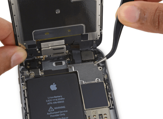 Display cable bracket in iPhone 6S