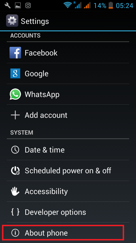 About phone option in android