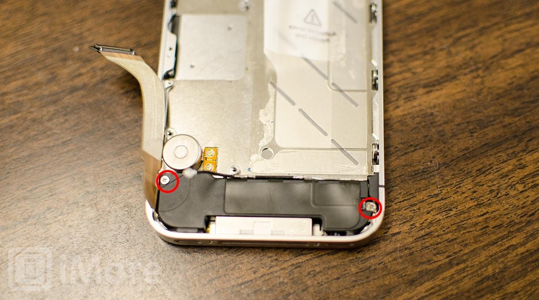 Removing loud speaker screws in iPhone 4S