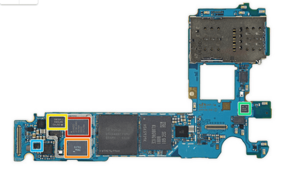Samsung Galaxy S7 components under EMI shield