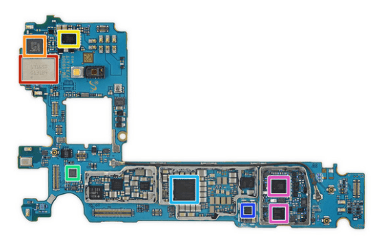 Samsung Galaxy S7 components on the flip side