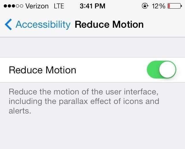reducing motion in iphone