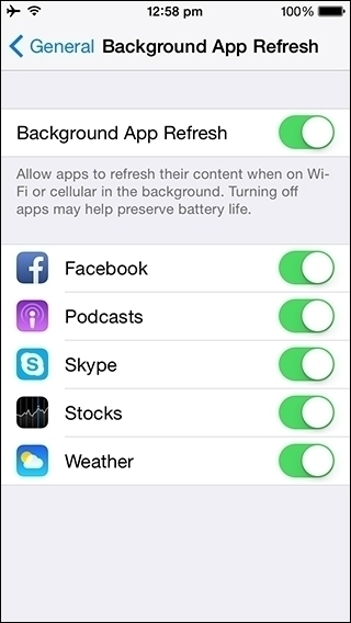reducing iPhone backgroung app refresh