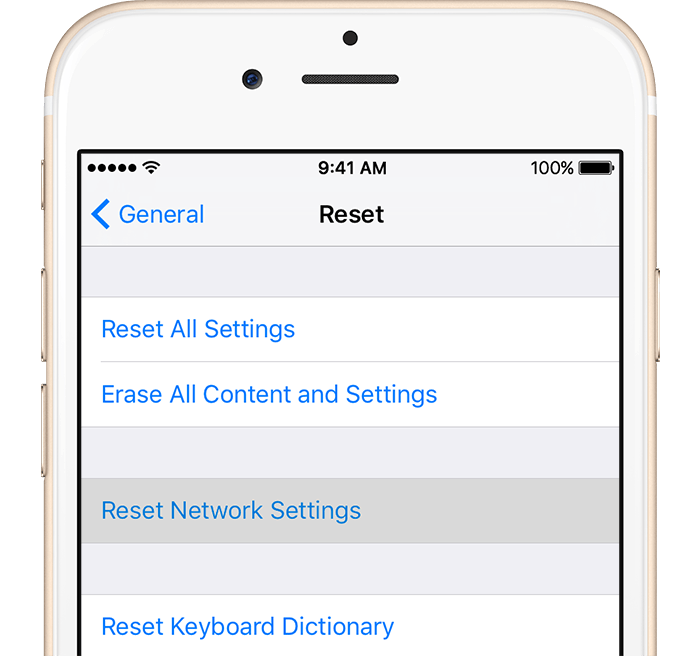iPhone network reset