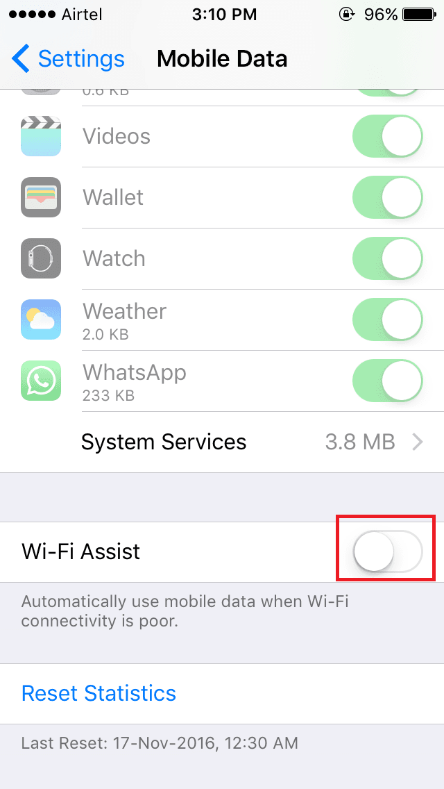 disabling wi-fi assist