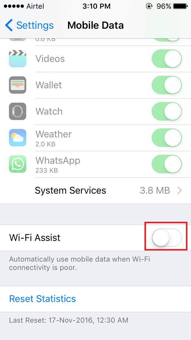 disabling wi-fi assist