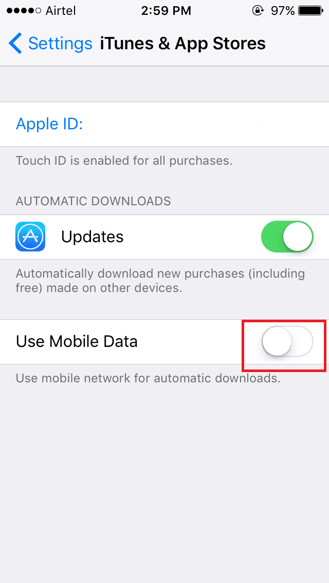 switching off data for icloud